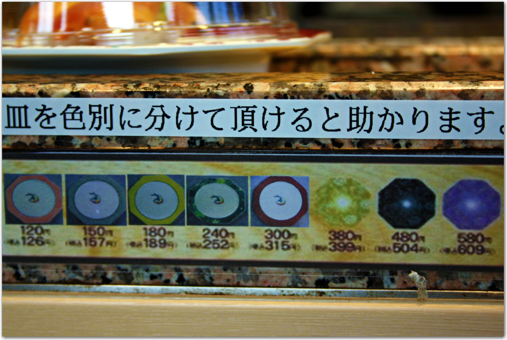 prices and plate colours at conveyor belt sushi