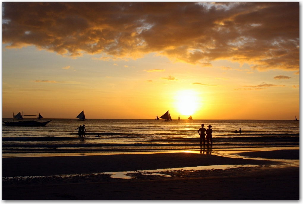 boracay sunsets white beach philippines