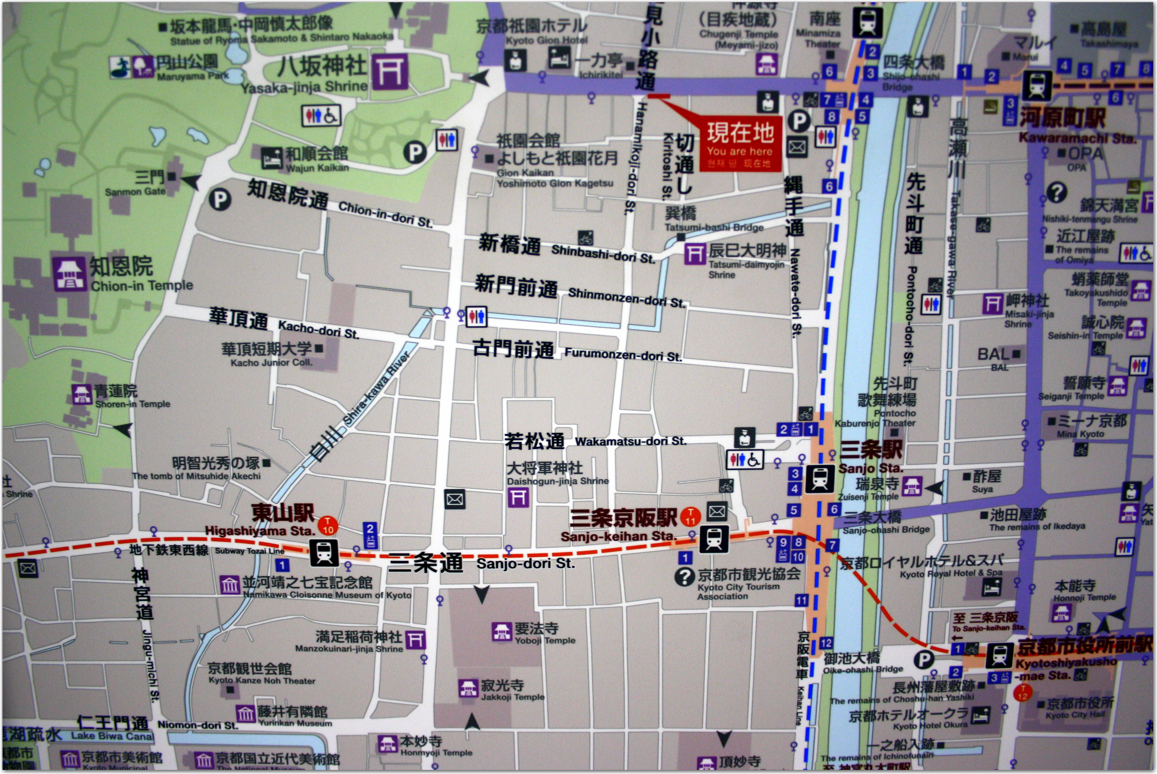 higashiyama tourist map with gion